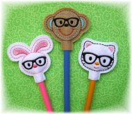 Nerd Critters Pencil Topper FELT STITCHIES (in the hoop)