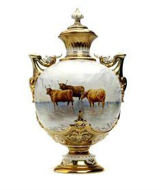 ** Dekorační váza - malovaný, zlacený porcelán ♣ Míšeň **