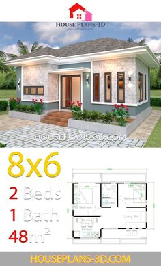 House Plans with 2 Bedrooms Hip roof - House Plans