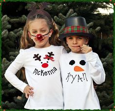 Girl's Long-sleeve Reindeer Tee Shirt or Bodysuit with a Personalized Smile. $21.50, via Etsy.