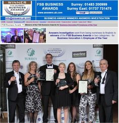 Business Awards - Having received winning awards for 'Employee of the Year' and for 'Business Innovation;, the awards have finally made it to their own display cabinet!: http://www.answers.uk.com/services/fsbbusinessawards2014.htm T:01483 200999