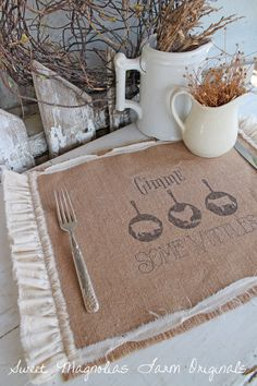Burlap Table Placemats Gimme Some Vittles by SweetMagnoliasFarm