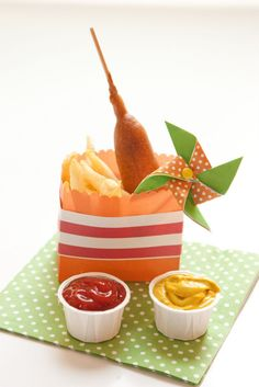 Pinwheel Party - corndogs and french fries