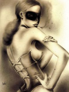 Pose-Her Brian M Viveros media:airbrush, charcoal, pencil, ink 2004