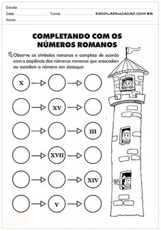 Atividades de Matemática 3º ano - Números romanos Primary Maths, Primary School, Math Worksheets, Math Activities, School Frame, Third Grade Math, Sistema Solar, Le Web, Roman Numerals