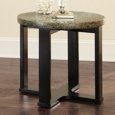 Steve Silver Company GB200E Gabriel Granite Top End Table - Home Furniture Showroom