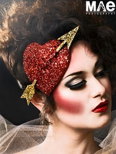 Burlesque Heart Fascinator in ruby red and gold glitter, Cupids Heart