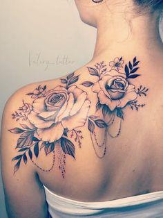 Feminine Shoulder Tattoos, Feminine Skull Tattoos, Floral Back Tattoos, Cool Shoulder Tattoos, Back Of Shoulder Tattoo, Shoulder Tattoos For Women, Flower Tattoo Shoulder, Floral Tattoo Design, Tattoo Designs