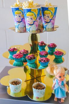 Sweets, treats, and popcorn from Pretty Princess Cinderella Birthday Party at…