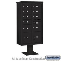 4C Pedestal Mailbox (Includes 13 Inch High Pedestal and Master Commercial Locks) - Maximum Height Unit (72 Inches) - Double Column - 7 MB2 Doors / 2 MB3 Doors / 2 PL - Black by Salsbury Industries. $1057.50. 4C Pedestal Mailbox (Includes 13 Inch High Pedestal and Master Commercial Locks) - Maximum Height Unit (72 Inches) - Double Column - 7 MB2 Doors / 2 MB3 Doors / 2 PL - Black - Salsbury Industries - 820996454645. Save 10%!