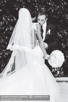 romantic black and white wedding photography for bride and groom