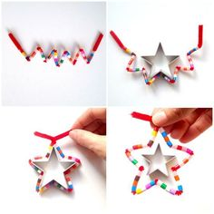 DIY Star Christmas ornaments (pipe cleaner and hama beads) by schaeresteipapier Noel Christmas, Christmas Activities, Christmas Crafts For Kids, Simple Christmas, Holiday Crafts, Christmas Decorations, Ornament Crafts, Xmas Ornaments, Star Ornament