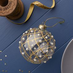 Gold Glitter Bauble With Pearls