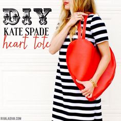 Easy and Adorable DIY Kate Spade Inspired Heart Tote Tutorial Bag Pattern Free, Bag Patterns To Sew, Sewing Patterns Free, Sewing Tutorials, Sewing Projects, Bag Tutorials, Tutorial Sewing, Free Sewing, Clutch Tutorial