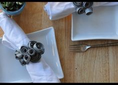 These napkin rings were made from...toilet paper rolls!