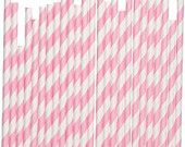 50 Baby Pink White Striped Paper Straws - Parties, weddings, graduations  FREE DIY Flags. $8.00, via Etsy.
