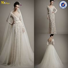 WD-056 Elegant Sheath V Neck Long Sleeve Lace Wedding Gown With Detachable Skirt - from Alibaba.com