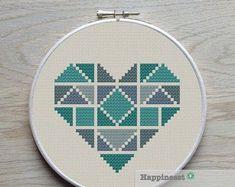 geometric modern cross stitch pattern heart, valentine heart, small, tangram style, PDF pattern ** i Heart Patterns, Beading Patterns, Embroidery Patterns, Etsy Embroidery, Modern Cross Stitch Patterns, Cross Stitch Designs, Cross Stitch Geometric, Cross Stitching, Cross Stitch Embroidery