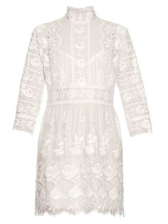 Marc Jacobs High-neck embroidered silk broderie-anglaise dress
