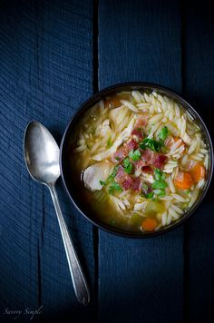 One Pot Chicken and Bacon Orzo Soup - Savory Simple