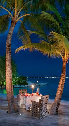 Dinner on the terrace at St. Regis Bora Bora Resort in French Polynesia
