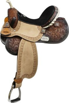 """Double T Barrel Style Saddle With Brushed Nickel Barrel Racer Conchos.   7 1/2"""" Gullet, Full QH Bars. Handsome!"""