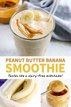 This Peanut Butter Banana Smoothie is a quick and easy recipe that reminds me of. This Peanut Butter Banana Smoothie is a quick and easy recipe that reminds me of a milkshake. I love that it has no added sugar! Breakfast Smoothie Recipes, Fruit Smoothie Recipes, Protein Shake Recipes, Vegan Smoothies, Yummy Smoothies, Smoothie Drinks, Healthy Breakfast Shakes, Nutritious Breakfast, Healthy Shakes