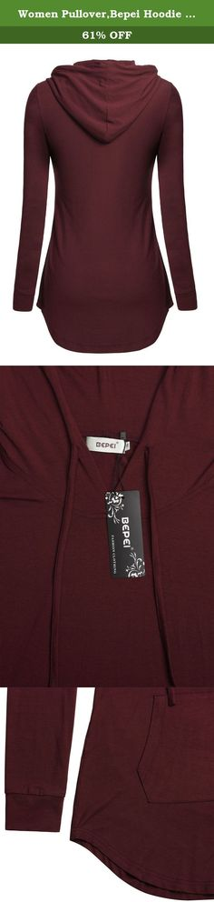 Women Pullover,Bepei Hoodie Wear Fall Fashion Clothing Tunic Shirts Burgundy 2XL. Bepei Women Tunic Hoodies Long Sleeves Kangaroo Pocket Crewneck Dressy Shirts This long sleeves top is your first choice in the coming Fall and Winter Season. It is made of 95% Rayon and 5% Spandex, very comfortable, elastic and soft. Featured with a hood and a big kangaroo pocket, this hoodie shirt is very versatile. You can dress it up with grey or black dressy slacks and a longer necklace or scarf for a...