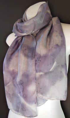 Charcoal Grey SILK SCARF Hand Painted Silk by SilkScarvesJoanReese, $60.00