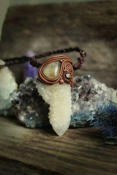 Spirit Quartz Sacred Crystal Necklace with Rutile Quartz and Garnet. Macrame and Plaited Necklace.