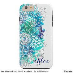 Zen Blue and Teal Floral Mandala Design Tough iPhone 6 Plus Case