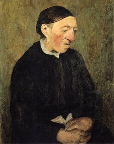 Modersohn-Becker, Paula (1876-1907) - 1903c. Old Woman with Handkerchief (Paula Modersohn-Becker Foundation, Bremen, Germany) 69 x 55 cm. Paula Modersohn-Becker, original name Paula Becker was a German painter who helped introduce into German art the styles of late 19th-century Post-Impressionist painters such as Paul Cézanne, Paul Gauguin, and Vincent van Gogh.