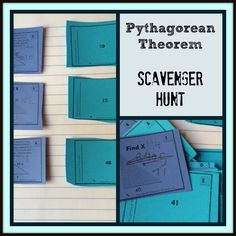 Launching a scavenger hunt with Pythagorean theorem.  Can you find the missing leg?  Match them up.