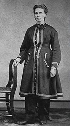 Amelia Bloomer herself, in her famed outfit-Bloomer - Cycling - Rational Dress