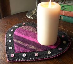 Items similar to Valentines Day Candle Mat- Heart- Pink and Gray on Etsy Easy Valentine Crafts, Valentines, Valentine Ideas, Felted Wool Crafts, Felt Gifts, Felt Embroidery, Primitive Quilts, Primitive Crafts, Felt Projects