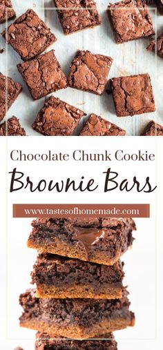 These chocolate chunk cookie brownie bars are the perfect combo of two favorite treats. Why choose between cookies and brownies when you can have both? Chocolate Caramel Slice, Chocolate Chunk Brownies, Bakers Chocolate, Chocolate Oatmeal Cookies, Oatmeal Cookie Recipes, Cocoa Brownies, Dessert Chocolate, Chocolate Recipes, Fudge