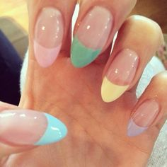 The best Easter nail art designs - Yahoo South Africa News French Nails, French Manicure Nails, Pastel Color Nails, Nail Colors, Colorful Nails, Pastel Colours, Pastels, Cute Nails, My Nails