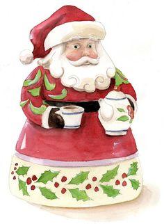 Jim Shore Santa with Teapot   Watercolor