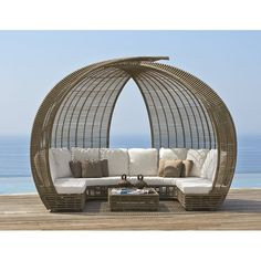 Skyline Design Sparta Patio Daybed with Sunbrella Cushions Frame Finish: Kubu Mushroom, Cushion Color (Fabric): Sunbrella Heather Beige 5476 Patio Daybed, Patio Gazebo, Back Patio, Backyard, Outdoor Wall Art, Outdoor Walls, Outdoor Living, Outdoor Furniture, Outdoor Sofas