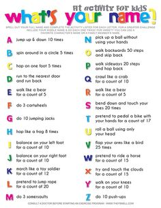 Spell Your Name Workout – What's Your Name? Fitness Activity Printable for Kids Spell Your Name Workout – What's Your Name? Fitness Activity Printable for Kids,Geburtstagsparty Ideen What's your name? Fitness activity for kids. Fitness Activities, Toddler Activities, Fun Activities, Icebreaker Games For Kids, Movement Activities, Name Games For Kids, Listening Activities For Kids, Icebreakers For Kids, Physical Activities For Kids