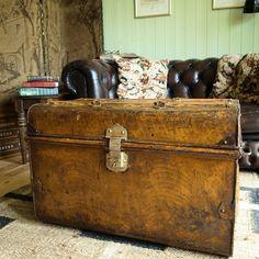 vintage steamer trunk storage chest 1920s luggage travel trunk
