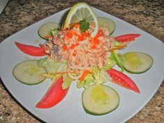 Chef JD's Classic Cuisine: Seafood Salad with Roasted Garlic Capelin Roe Dres...