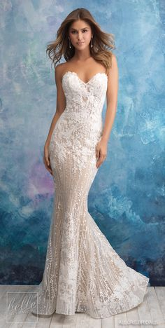 Trendy wedding gown fit and flare lace allure bridal Ideas Fit And Flare Wedding Dress, Wedding Dress Sizes, Perfect Wedding Dress, White Bridal Dresses, Bridal Wedding Dresses, Bridesmaid Dresses, Lace Wedding, Wedding Wear, Wedding Tips