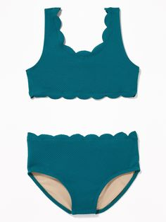 Old Navy Girls' Textured Scalloped-Edge Swim Sets Canopy Size XS Summer Bathing Suits, Cute Bathing Suits, Girls Swimming, Swimming Suits, Old Navy Kids, Kids Suits, Swim Sets, Dance Leotards, Swimsuits