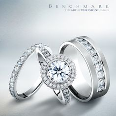 3 rings. 2 hearts. 1 #love. #benchmarkrings #diamonds #weddingring #picoftheday