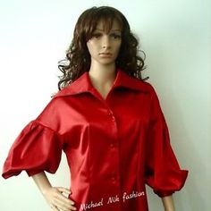 Satin 1950's Baloon Sleeves Victorian Blouse Career Shirt in Red Prom Top | eBay