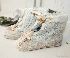 Antique 19th Century Belgian Duchesse Bobbin Lace Baby Shoes--A miracle indeed these beauties survived !