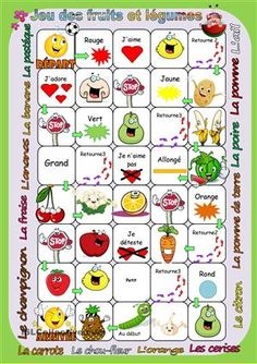 Jeu des fruits et légumes French Flashcards, French Worksheets, Learn French Fast, How To Speak French, French Teacher, Teaching French, French Images, Child Teaching, French Classroom