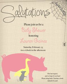 Charlottes Web Baby Shower Invitation via Sail South Home #farm #girl