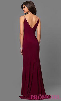 Image of wine red jersey v-neck long prom dress with side slit. Style: DMO-J315996 Back Image